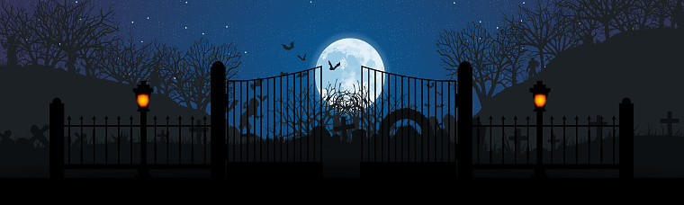 Night landscape of the cemetery. Monsters walk in the moonlight. Terrible panorama. Vector. EPS10