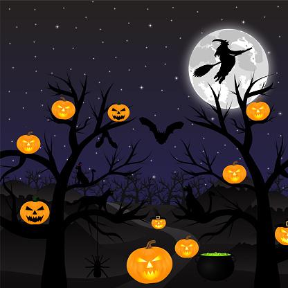 night landscape under a full moon on Halloween