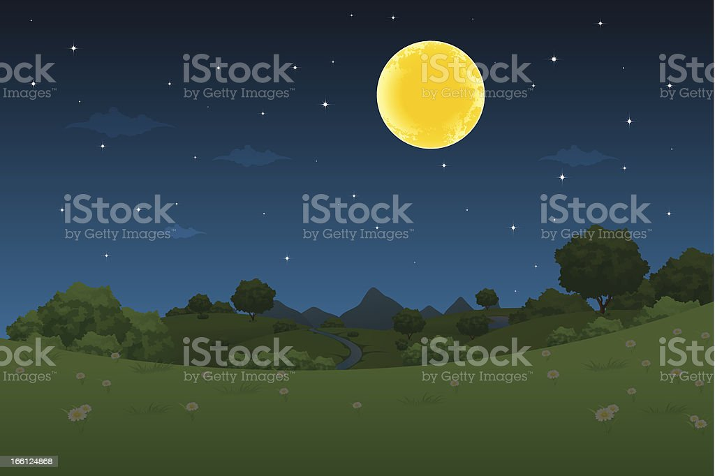 Night Landscape royalty-free night landscape stock vector art & more images of backgrounds