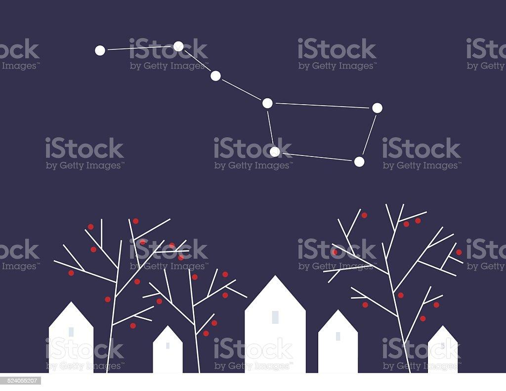 Night landscape vector art illustration