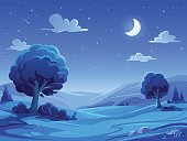 Vector illustration of a beautiful rural landscape with trees, bushes, hills and green meadows at night. In the sky are stars, clouds and a full moon.