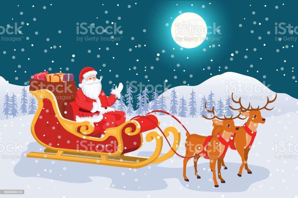 Nachtlandschaft Mit Vollmond Von Weihnachten Santa Claus Mit Seinem ...