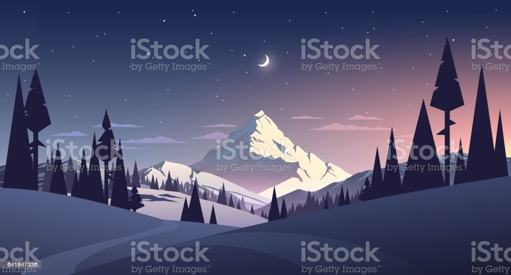 night landscape with mountain and moon vector art illustration