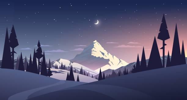 illustrazioni stock, clip art, cartoni animati e icone di tendenza di night landscape with mountain and moon - landscape