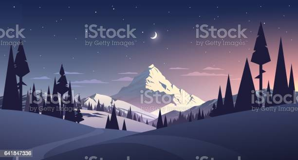 Night Landscape With Mountain And Moon Stock Illustration - Download Image Now