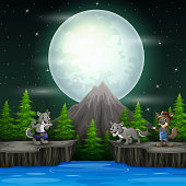 Night landscape with three wolves on the rocks