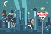 Night Las Vegas skyline with city landmarks and sign welcome. Vector cartoon flat illustration isolated on white background.