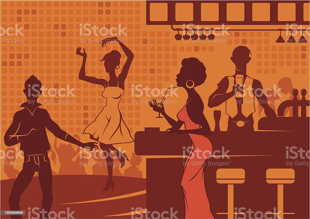Night life in club vector art illustration