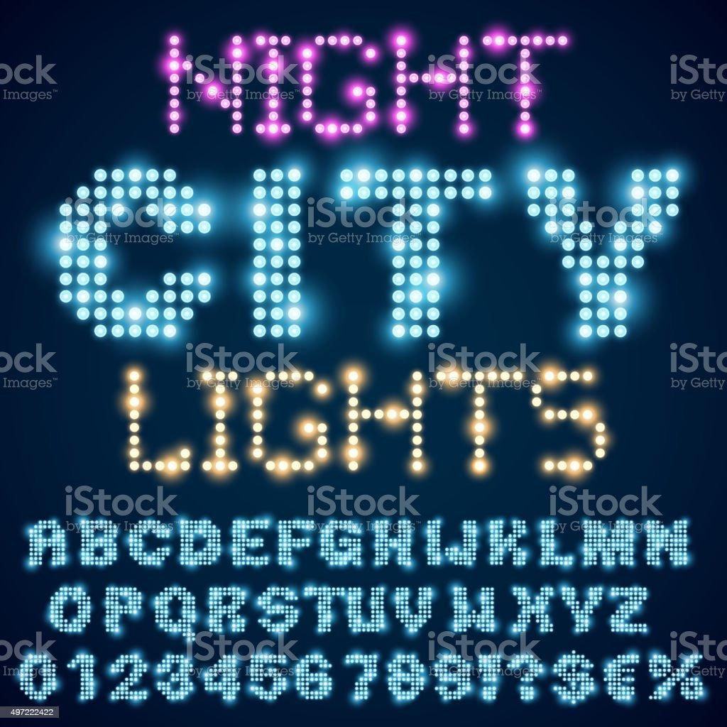 Night lights vector art illustration