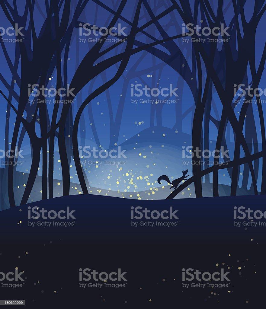 Night magic scene with fireflies vector art illustration