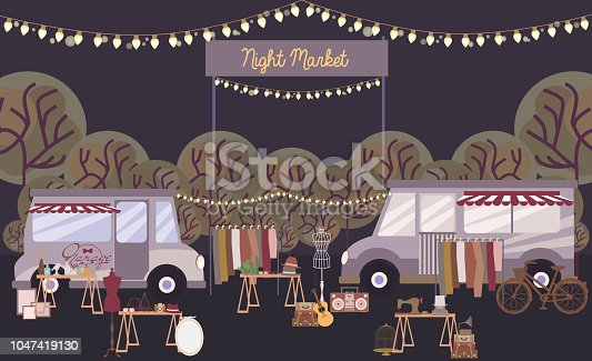 Night market poster with park and shopping street, cartoon flat design. Editable vector illustration