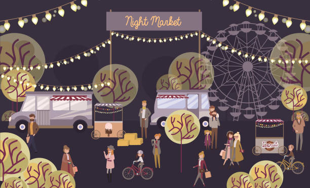 Night market poster with people selling and shopping Night market poster with people selling and shopping at walking street, cartoon flat design. Editable vector illustration night market stock illustrations