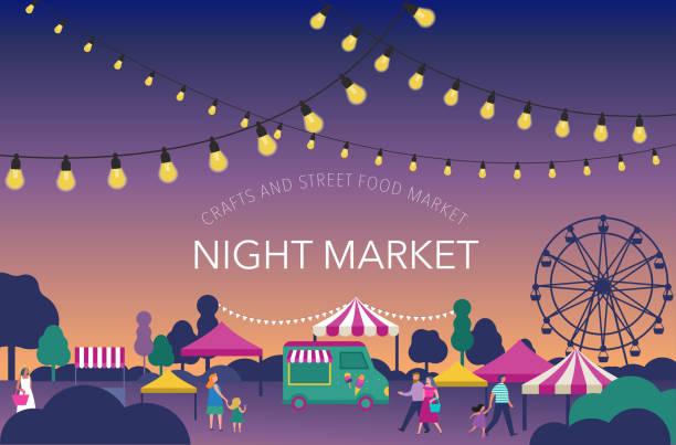 stockillustraties, clipart, cartoons en iconen met avondmarkt, zomer fest, voedsel straat eerlijk, familie festival poster en banner - avondmarkt