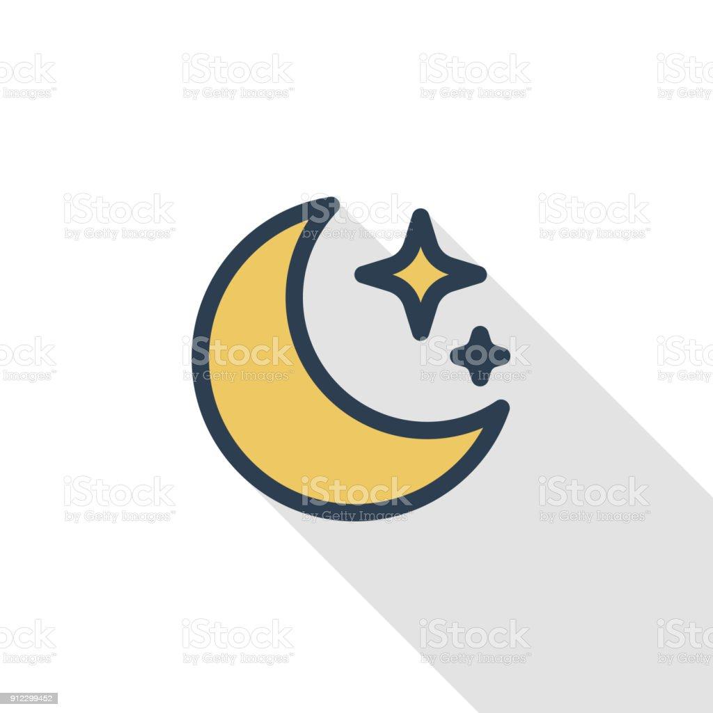 夜、月と星の細い線フラット カラー アイコンを使用すること。線形ベクトル記号です。カラフルな長い影デザイン。 ベクターアートイラスト