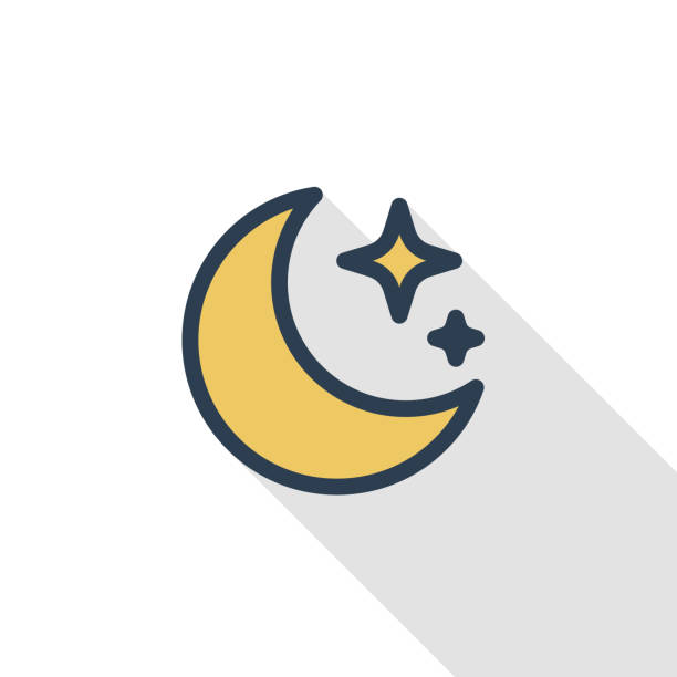 night, moon and star thin line flat color icon. linear vector symbol. colorful long shadow design. - moon stock illustrations, clip art, cartoons, & icons