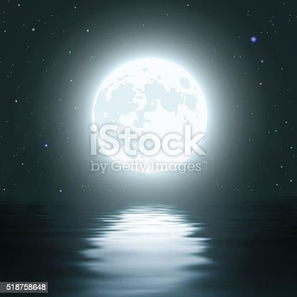 istock Night Moon Over the Water 518758648