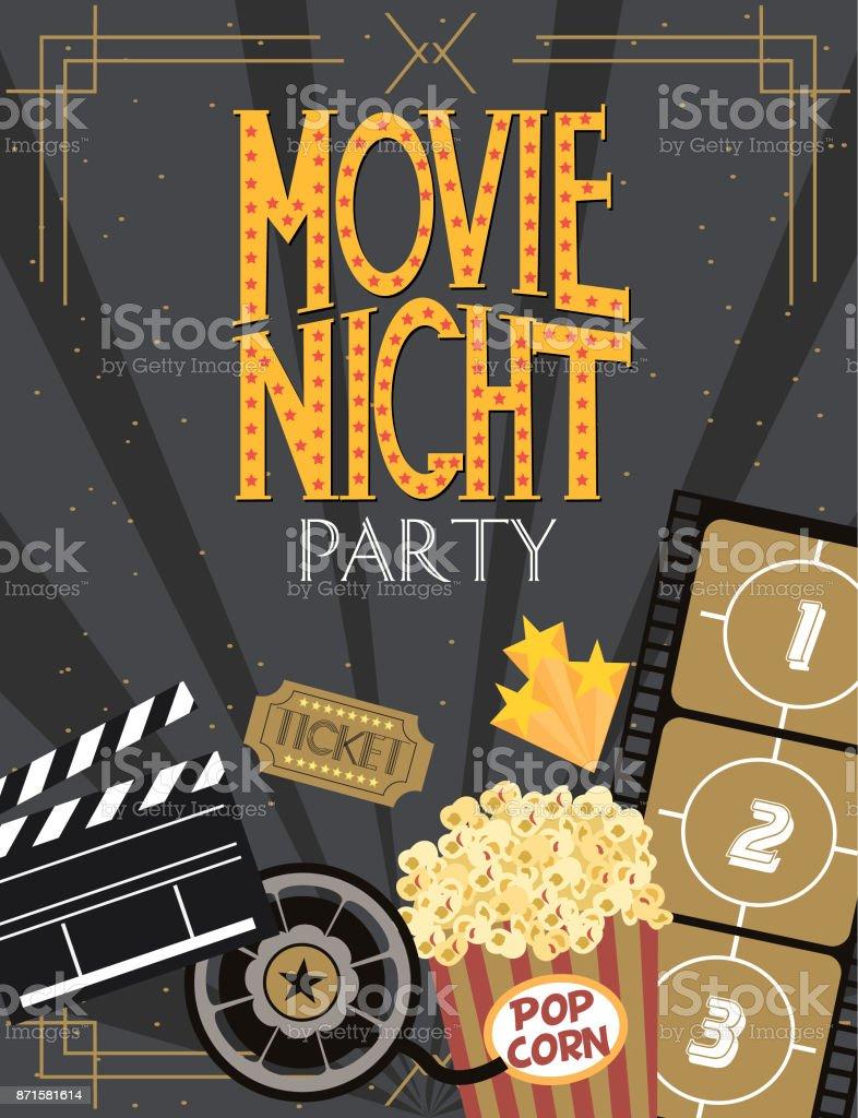 Night Movie party invitation card vector art illustration
