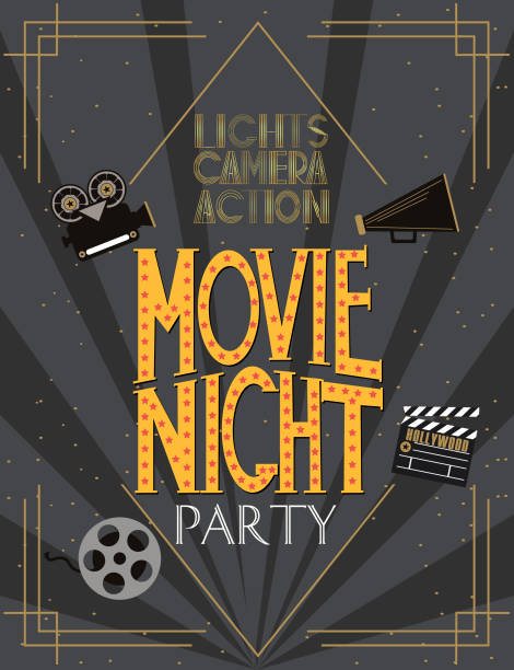 Royalty free hollywood premiere clip art vector images night movie party invitation card vector art illustration stopboris Gallery