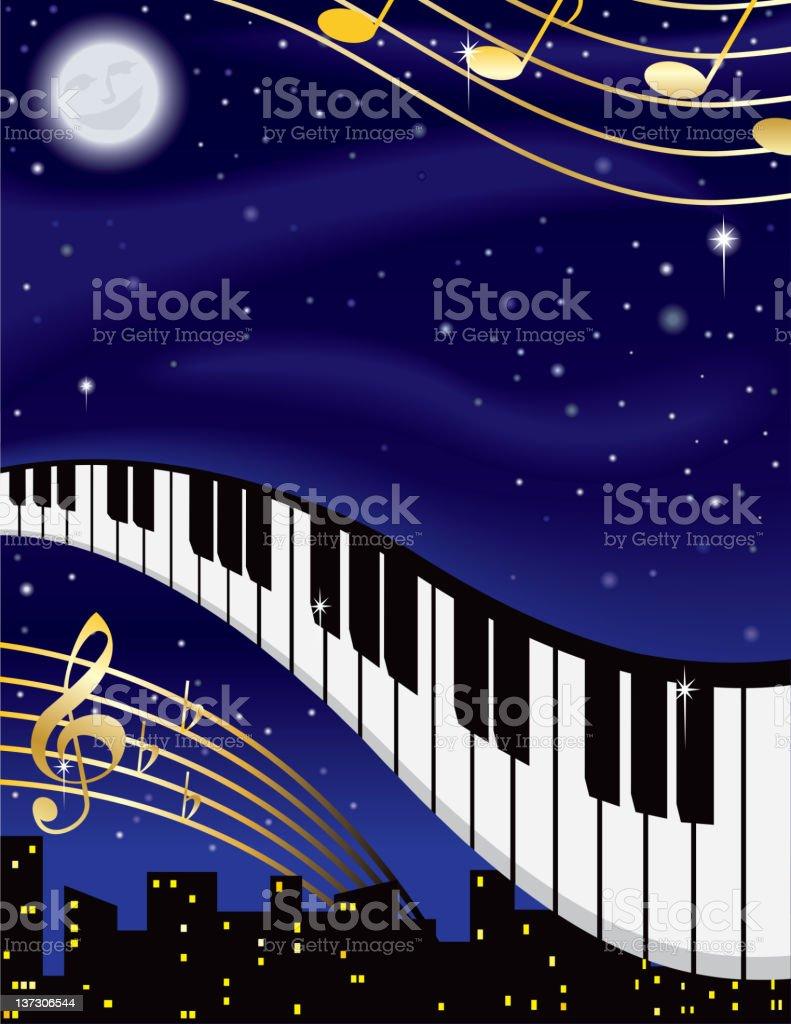 Night Music vector art illustration