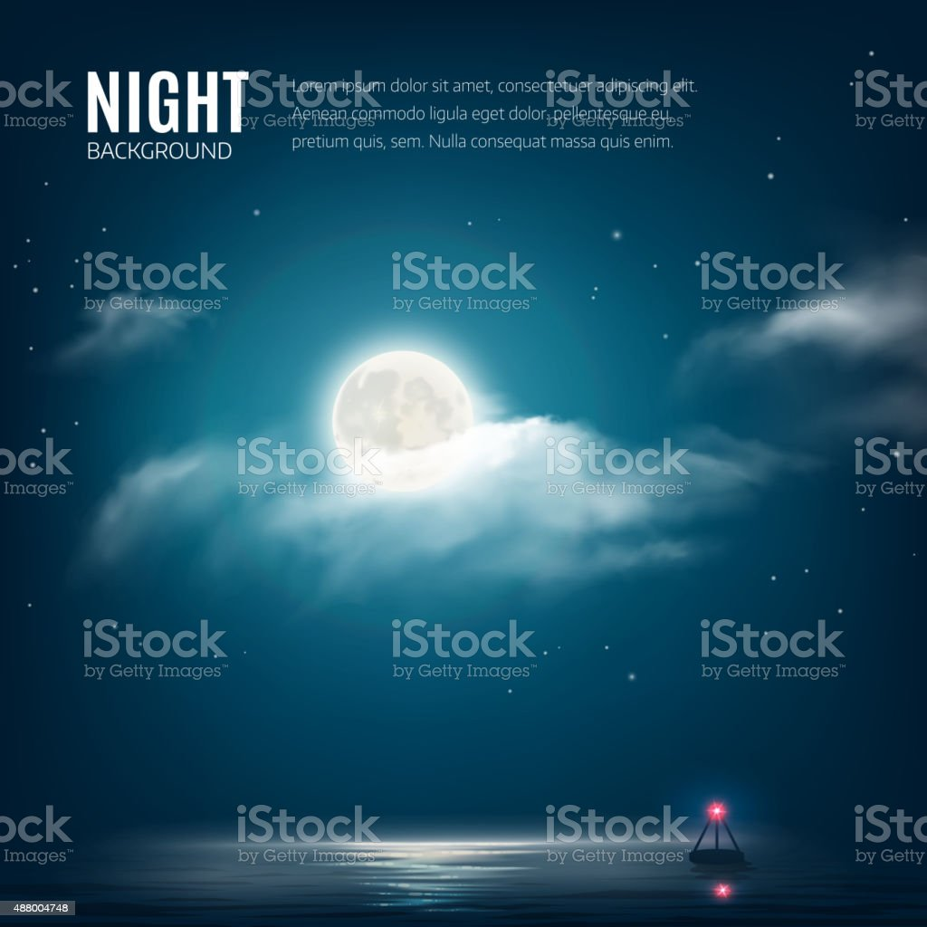 Night nature background cloudy sky with stars, moon and sea vector art illustration