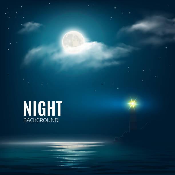 Nacht Natur wolkenverhangenen Himmel mit Sternen, Mond und das Meer – Vektorgrafik