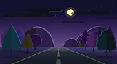 Night nature landscape road, mountains, forest moon cloud stars sky