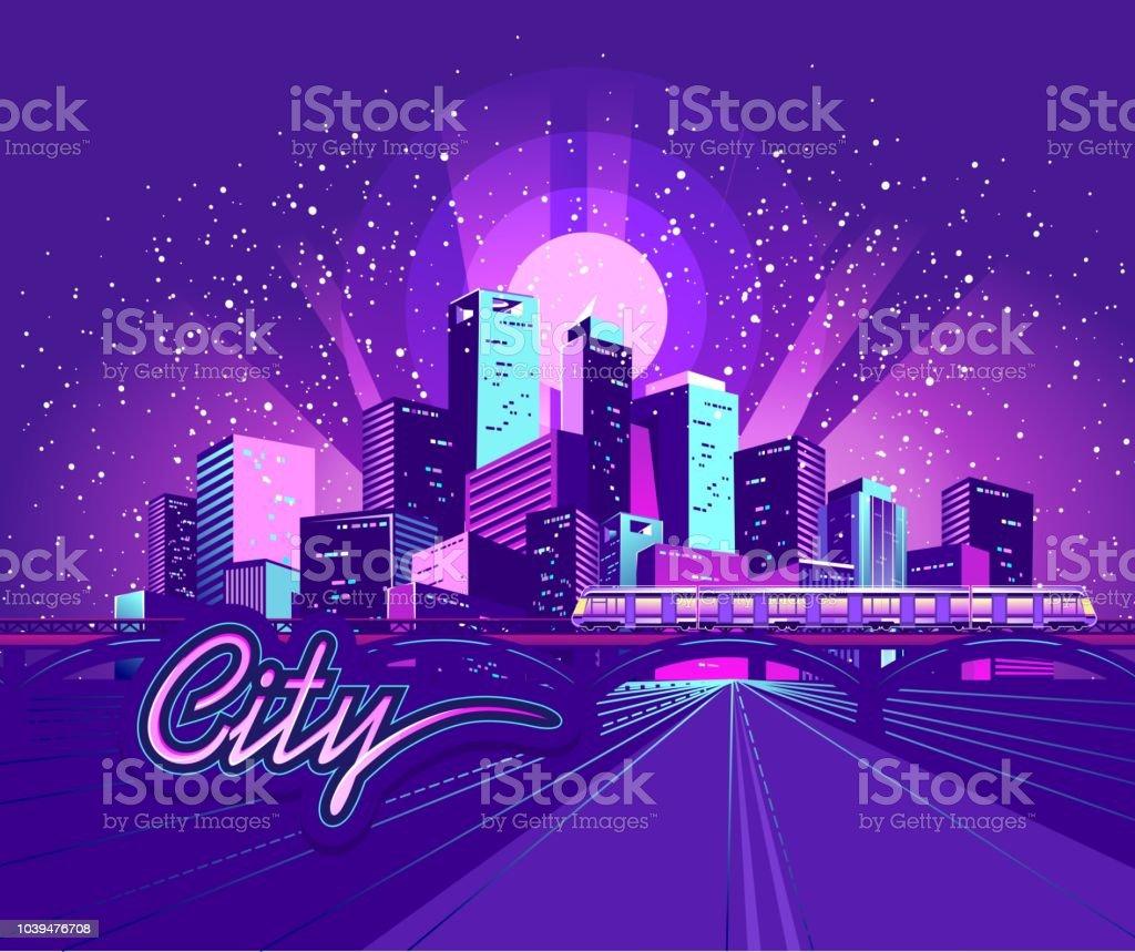 夜のネオン街 まぶしいのベクターアート素材や画像を多数ご用意 Istock