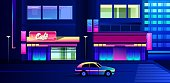 vector illustration, night neon city, street with luminous signs and a cafe with shop windows