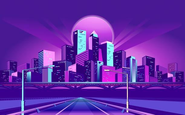 Night Neon City Night neon city, bridge going to skyscrapers, road inland with , vector horizontal illustration urban road stock illustrations