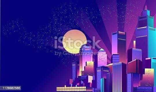 istock Night Neon City 1126682585