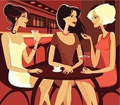 Three females friend sitting and chatting in a pub. Eps and hi-res jpg.