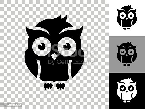 Night Owl Icon on Checkerboard Transparent Background. This 100% royalty free vector illustration is featuring the icon on a checkerboard pattern transparent background. There are 3 additional color variations on the right..