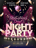 Night party background for flyer, banner, advertisement, invitation to disco night party.Valentines Day event. Scene illuminated by spotlights and disco ball