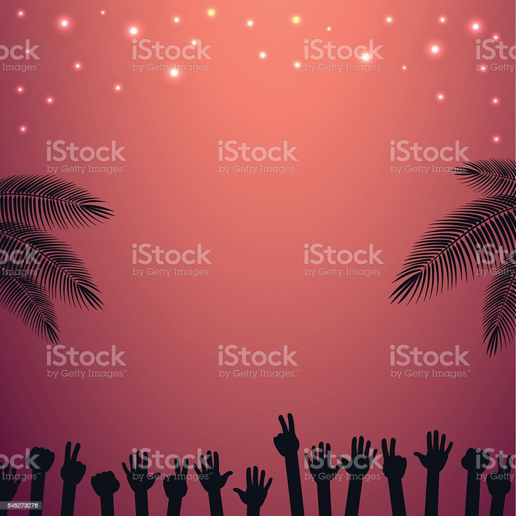 Night Party beach vector background with raised hands dancing. vector art illustration
