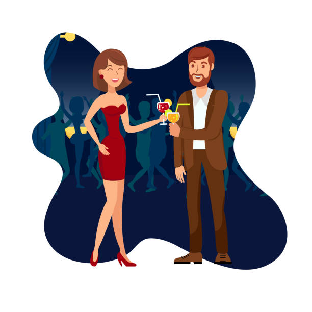 Night Party, Clubbing Flat Vector Illustration Night Party, Clubbing Flat Vector Illustration. Man in Suit and Woman in Dress Talking Cartoon Characters. First Meeting at Night Club. Young Cheerful People on Date Isolated on White Background flirting stock illustrations