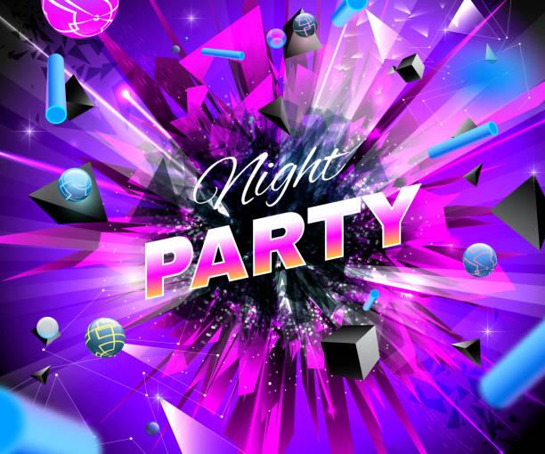 Nacht Party Event bunten hellen abstrakte banner – Vektorgrafik