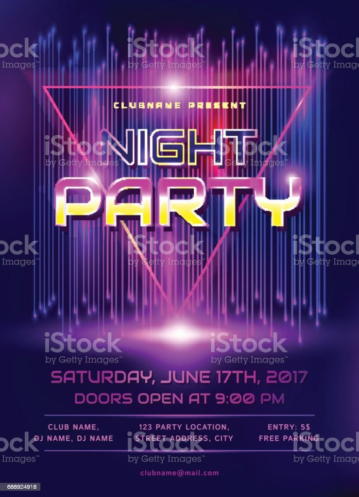 Night party flyer. royalty-free night party flyer stock illustration - download image now