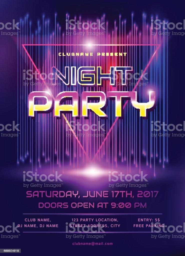 Night party flyer. vector art illustration