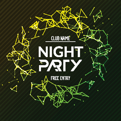 Night Party Poster Shiny Banner Club Disco Dj Dance Summer Stock