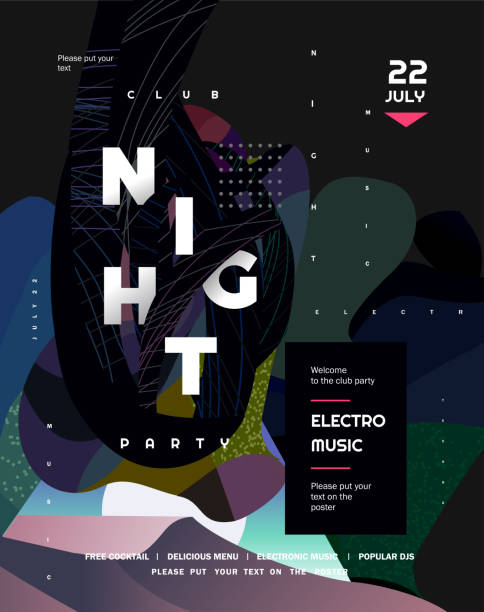 night party. vector gradient abstract background for poster, flyer or cover. psychedelic illustration for clubs, dj, electronic techno music, festival, etc - jungle stock illustrations