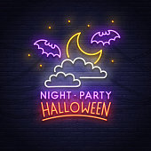 Night Paty neon sign. Happy Halloween. Neon sign, bright signboard, light banner.