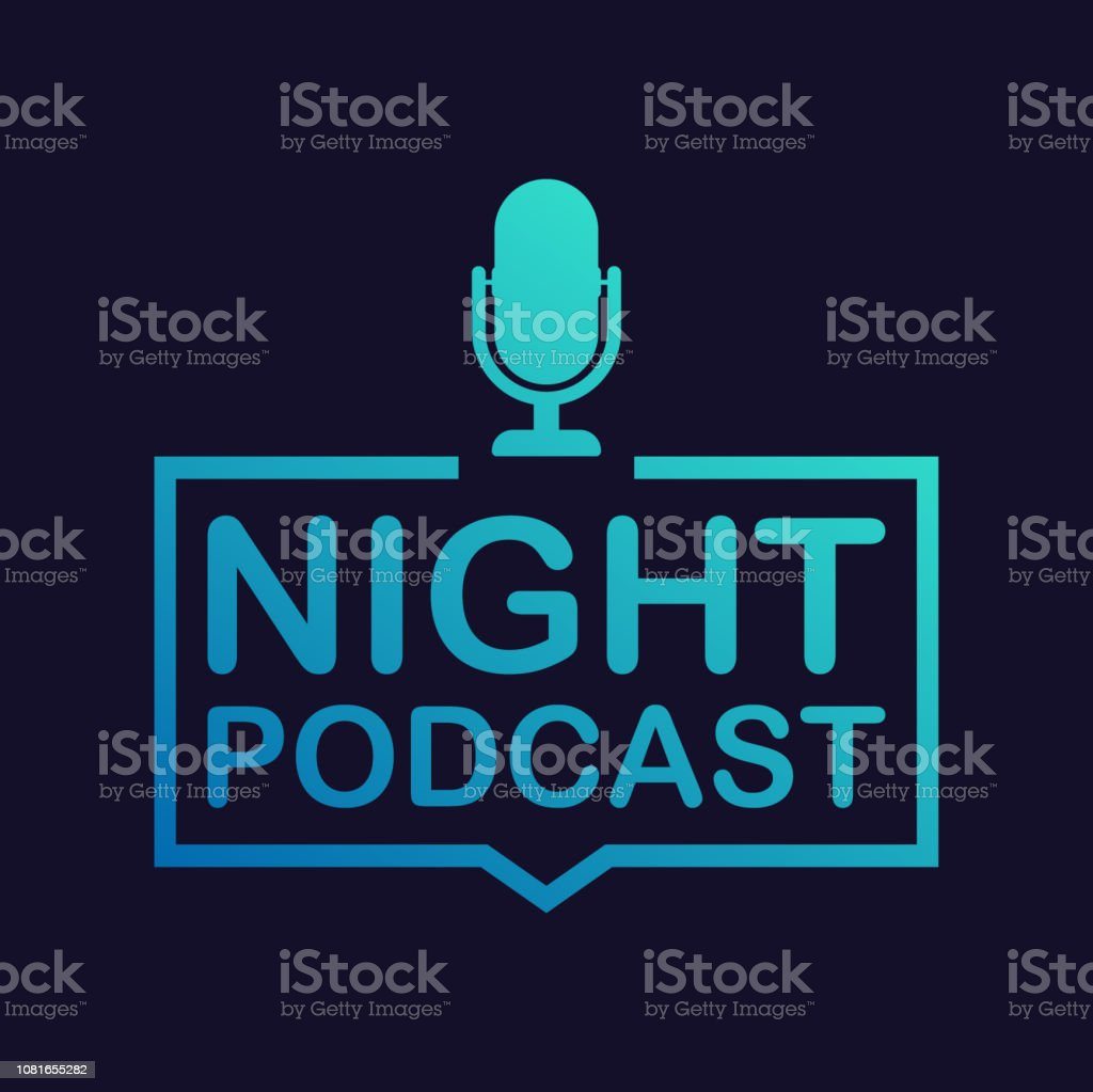 Nacht-Podcast-Symbol, Vektor-Symbol im flachen isometrische Stil auf farbigem Hintergrund isoliert. Vektor-Illustration. - Lizenzfrei Ankündigung Vektorgrafik