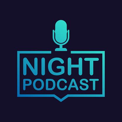 Nachtpodcastsymbol Vektorsymbol Im Flachen Isometrische Stil Auf Farbigem Hintergrund Isoliert Vektorillustration Stock Vektor Art und mehr Bilder von Ankündigung