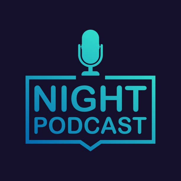 night podcast icon, vector symbol in flat isometric style isolated on color background. vector illustration. - podcast stock illustrations