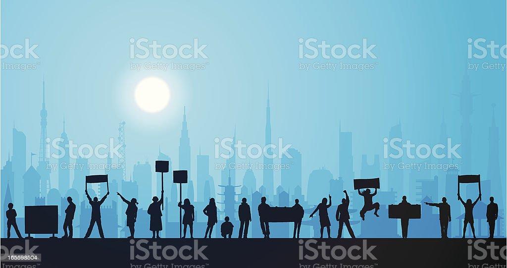 Protesta por la noche en la ciudad ilustración de protesta por la noche en la ciudad y más banco de imágenes de adulto libre de derechos