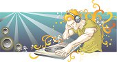 Vector illustration of detailed star DJ with Stylized foliage. More Party and Clubbing Lightbox