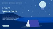 Night Reading Flat Landing Page Vector Template. Learning is Light and Ignorance is Darkness Metaphor. Self Development and Improvement. Study Necessity, Education Significance Homepage Layout