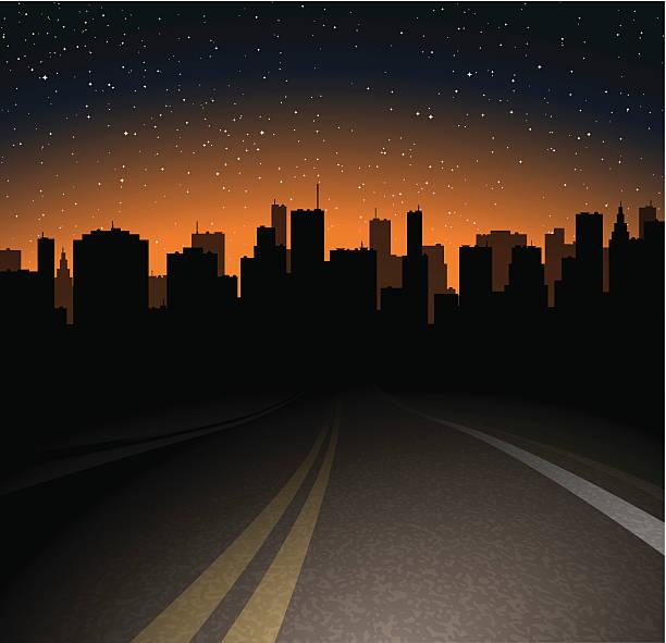 illustrations, cliparts, dessins animés et icônes de route de la ville de nuit - voiture nuit