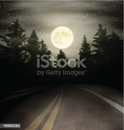 At night the road with the moon over the forest. Vector Illustration. EPS10 transparent gradient mesh fog and clouds.