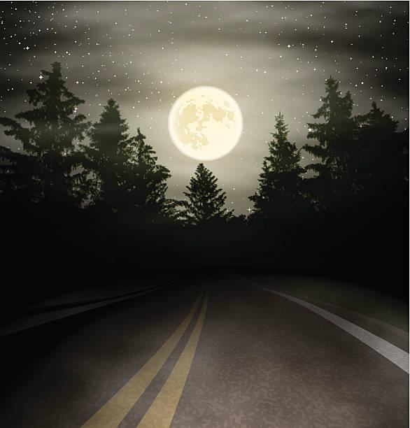 illustrations, cliparts, dessins animés et icônes de route de nuit - voiture nuit